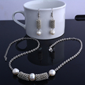 Original design antique silver plated natural freshwater pearl necklace