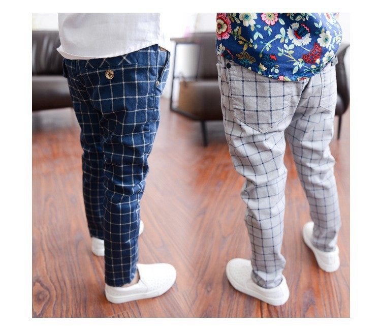 free shipping good quality plad cotton Boys pants pencil 2015 long leisure school pants children Trousers for teen 4 -12 years(China (Mainland))