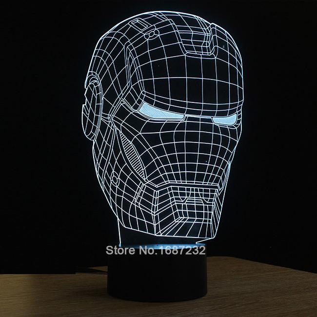 Iron Man 3D Table Lamp Micro USB Lamp Luminaria Kids Night