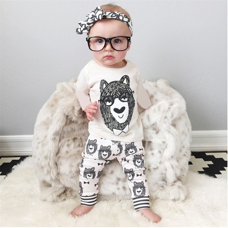 2016 Autumn Fashion Baby boy clothes Baby girl clothes Cotton Little Monsters long-sleeved 2pcs Infant Baby boy clothing set(China (Mainland))