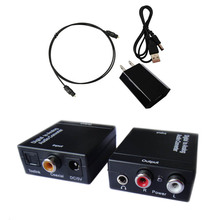 Digital Optical Coaxial Toslink Signal to Analog Audio Converter Adapter RCA L/R with 3.5mm jack output Eur Plug power adapter(China (Mainland))