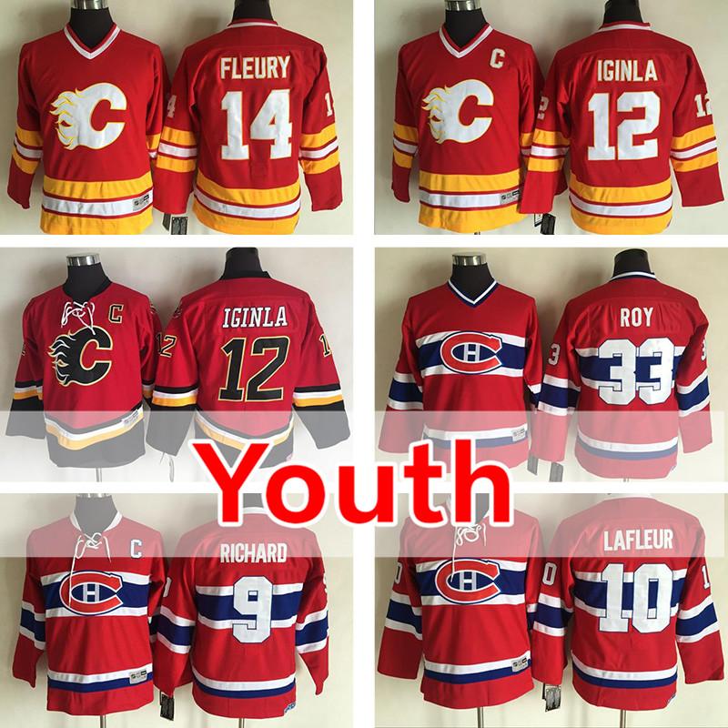 hockey 2016 youth jersey kids jarome iginla jarome iginla theoren fleury maurice richard 10 guy lafleur 33 calgary flames 12 jarome iginla redorange