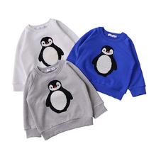 KIKIKIDS Kids Boys&Girls Inside Fleece Penguin Pattern Hoodies, Kids Clothing Toddler Girls Spring& Autumn Hoodies & Sweatshirt(China (Mainland))