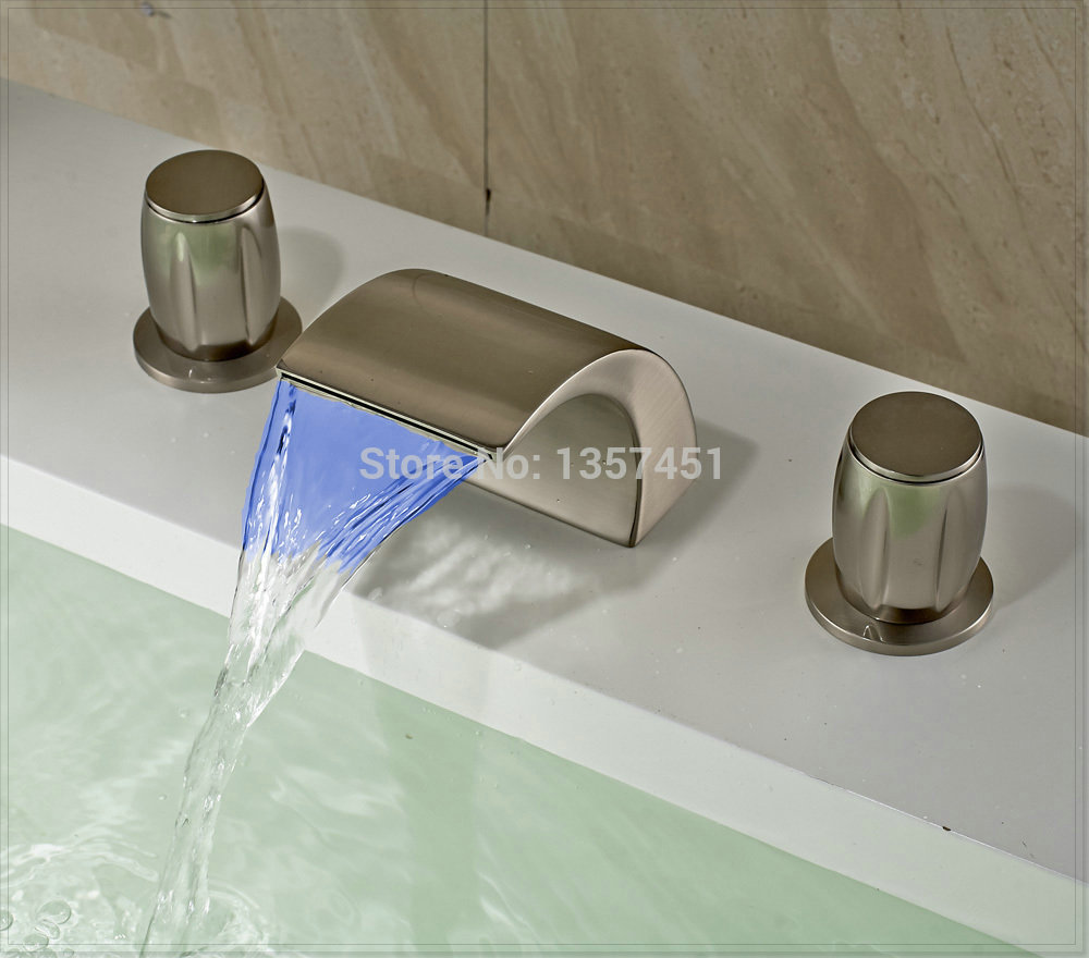 3 Piece Bathroom Sink Faucet : LED Light Waterfall Bathroom Sink Faucet 3 Holes Basin Mixer Tap ...