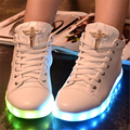 2016 brand 7colour glow Casual shoes high help diamond fluorescence luminous led lights usb charging for
