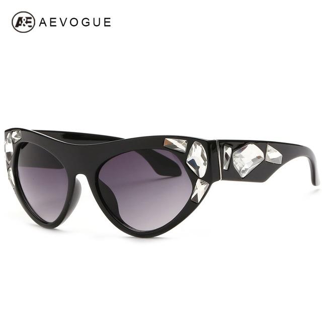 Aevogue искусственный драгоценные камни вставки марка дизайн солнечные очки женщины кошачий глаз солнцезащитные очки óculos UV400 AE0246