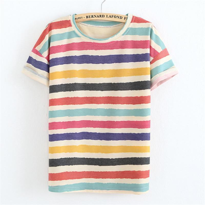 2015 Harajuku Style T Shirt Women Round Neck Wide Striped