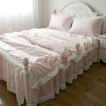 Princess bedding 4 100% cotton bed skirt style four piece set pure powder slanting stripe embroidered bedding(China (Mainland))