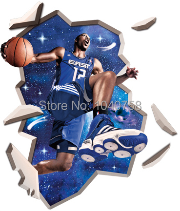 Large PVC Matte Basketball Poster 3D Wall Sticker for Kids Room Wall Decal Art 3D Wall Decoration Removable 3D Wallpaper(China (Mainland))