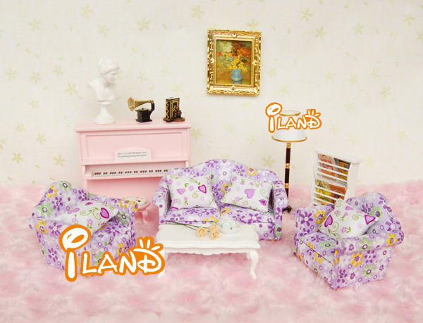 Iland 1 12 dollhouse miniature living room furniture sofa for Purple couch set