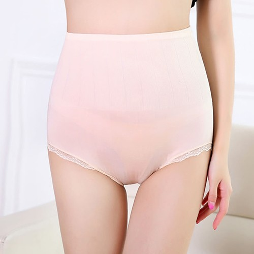 Women's Cotton Lace High Waist Elastic Slim Fit Underwear Underpants Briefs