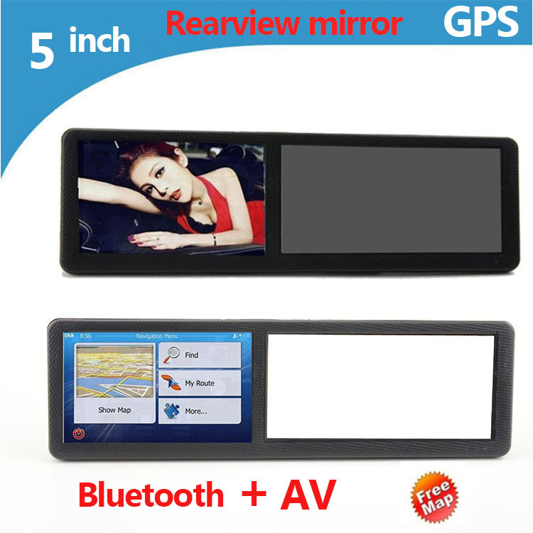 5 inch HD 800X480 Rearview mirror Car GPS navigation 800Mhz CPU Bluetooth AV full Europe map /Russia /USA+Canada/Israel G006(China (Mainland))