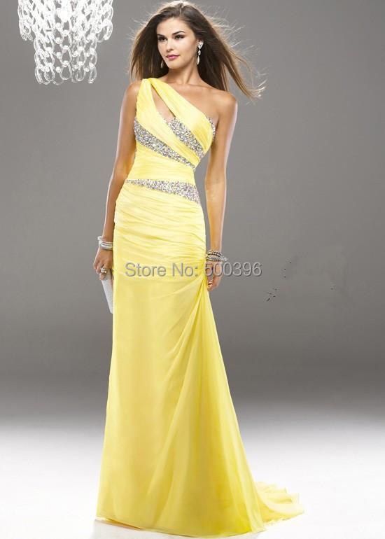 online kaufen gro handel gelb chiffon kleid aus china gelb. Black Bedroom Furniture Sets. Home Design Ideas