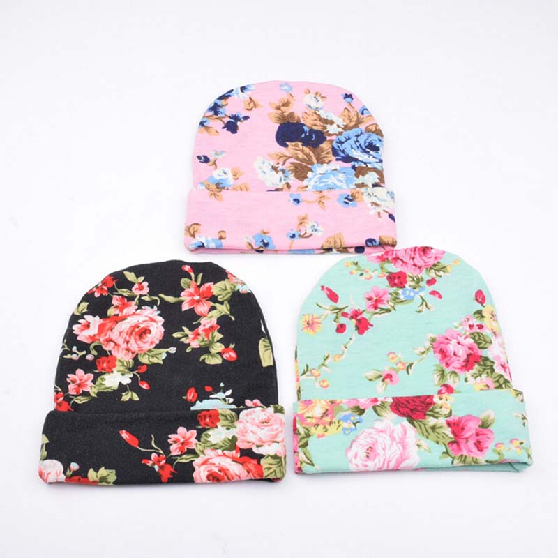 Personalized Baby Beanie Hat Infant Girl Newborn Baby Shower Gift Floral Organic Cotton Newborn Hospital Hat 0-3 Months SW131(China (Mainland))
