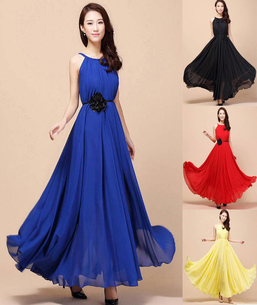 Women Lotus Leaf Ball Gown Dress Flower Big hem Solid Sleeveless Straps Chiffon Floor length Long Maxi Dresses belt 11 - Honair Mart store