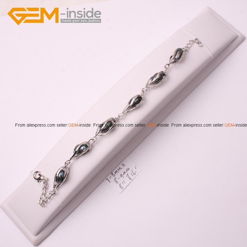 7-8mmx8-9mm Freshwater Pearl Bracelet White Gold Plated Adjustable Size - GEM-inside store