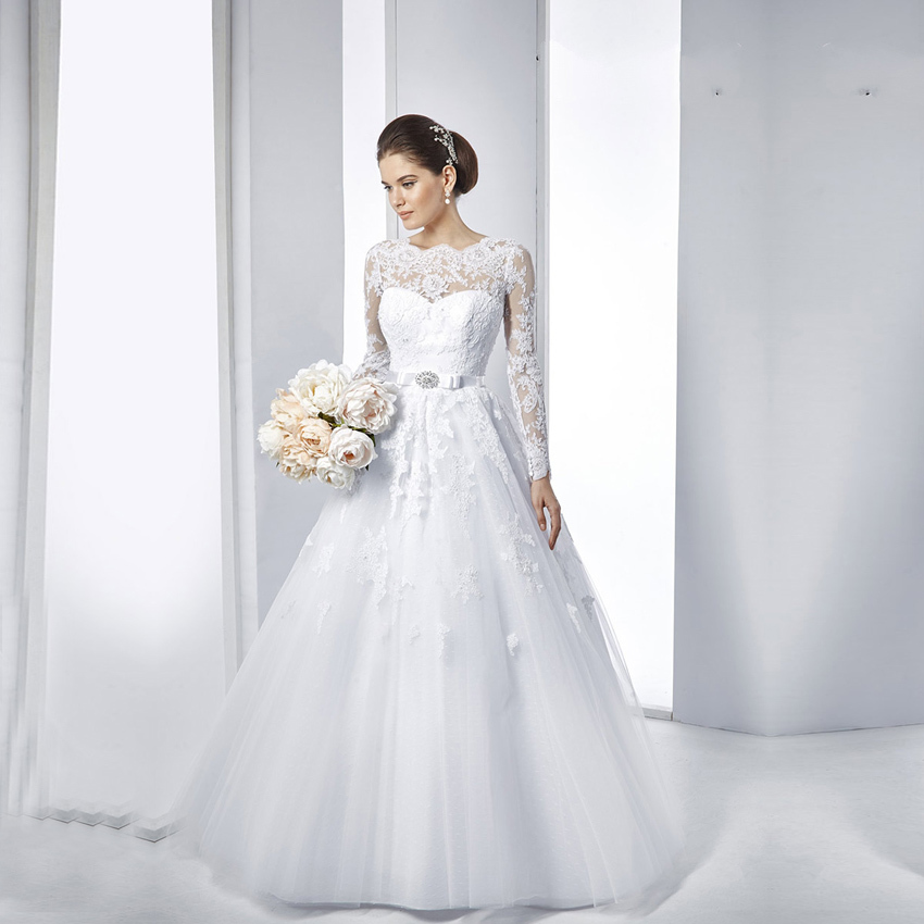 Buy vestido de noiva lace long sleeve for Lace white wedding dress