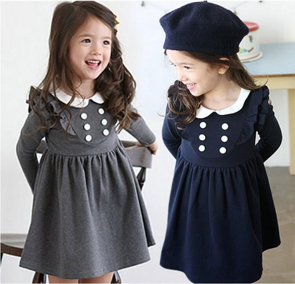 Hot Autumn Girl Cotton Dresses Cute Long Sleeve Dress Children Princess Dress TuTu Dress Kids Clothing 5 Pcs/lot WD1661<br><br>Aliexpress