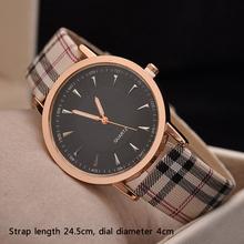 2015 Fashion Vintage Ladies Quartz Lattice Wristwatch Students Plaid Leather Strap Unisex Watches