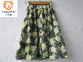 XQB 2016 flower summer green skirt cotton long skirt brand kids girl skirt floral girls clothes