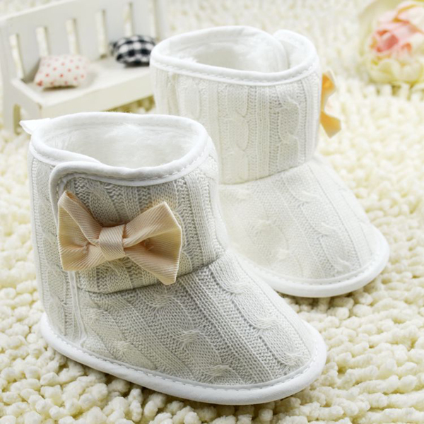 5 Color Baby Knited Faux Fleece Crib Snow Boots Kid Bowknot Woolen Shoes(China (Mainland))
