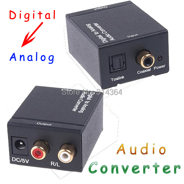 50pcs/lot Converters Audio converter Digital Optical Coax Toslink to Analog Audio Converter adapters free Express shipping(China (Mainland))