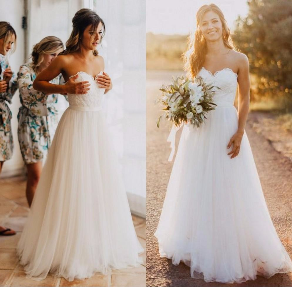Elegant tulle beach wedding dresses 2017 sweetheart lace a Inexpensive beach wedding dresses