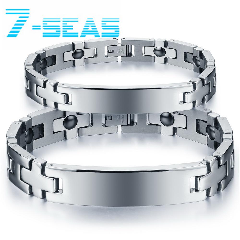 Magnetic Hematite Stone Couple Bracelets Health Care Stainless Steel Chain Men/Women Jewelry ,DS8403 - 7seas Fashion Worldwide Mall store