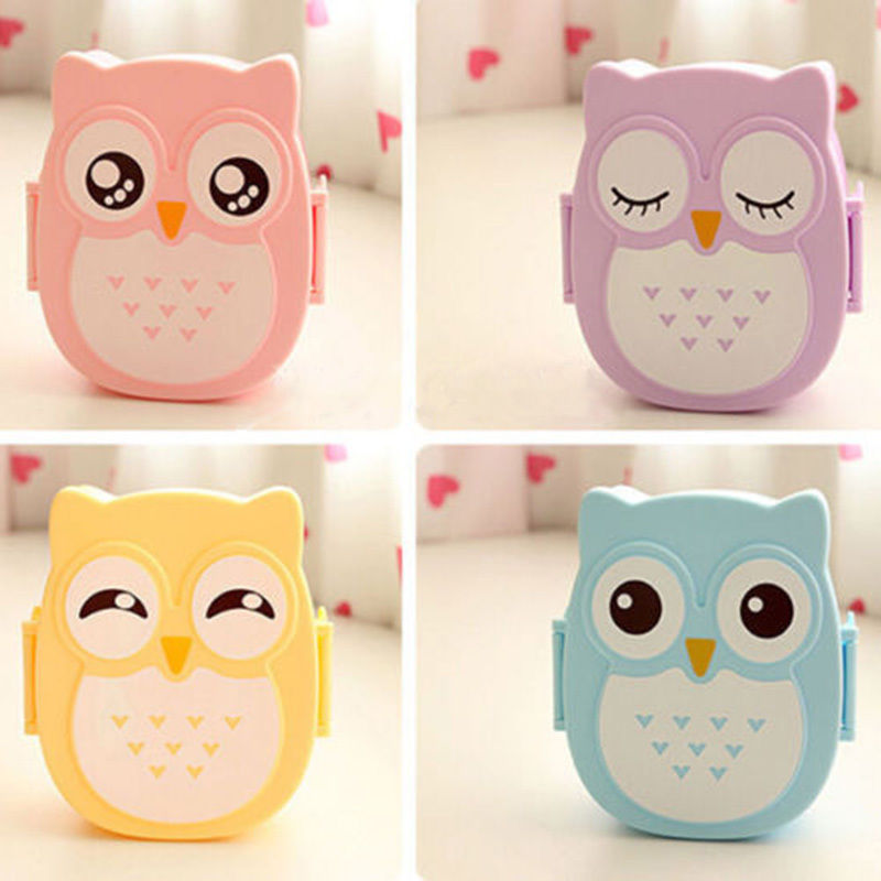 2016 hot sale cute cartoon owl lunch box food container storage box portable bento box spoon new. Black Bedroom Furniture Sets. Home Design Ideas