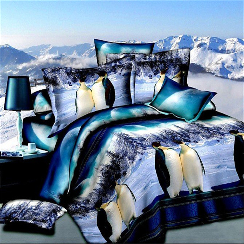 Hot,High-Quality Polyster Reactive Printing Bedding Set Queen Size Flower/Animal/People/Penguin Design Duvet/Quilt Cover Set(China (Mainland))