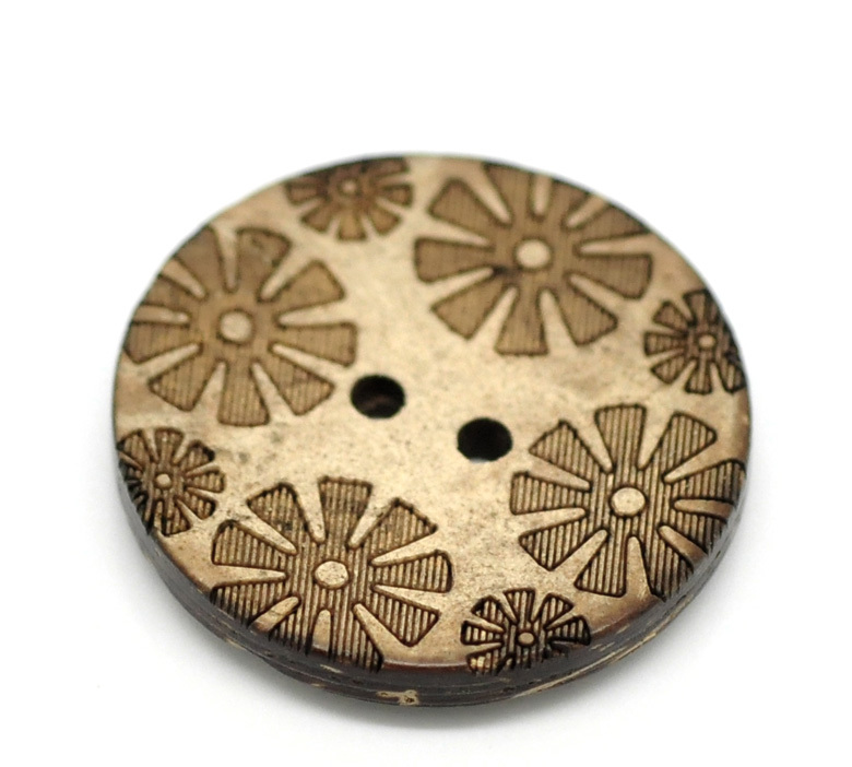 "30PCs Brown Flower Pattern 2 Holes Coconut Shell Sewing Buttons 28mm(1 1/8"")(China (Mainland))"