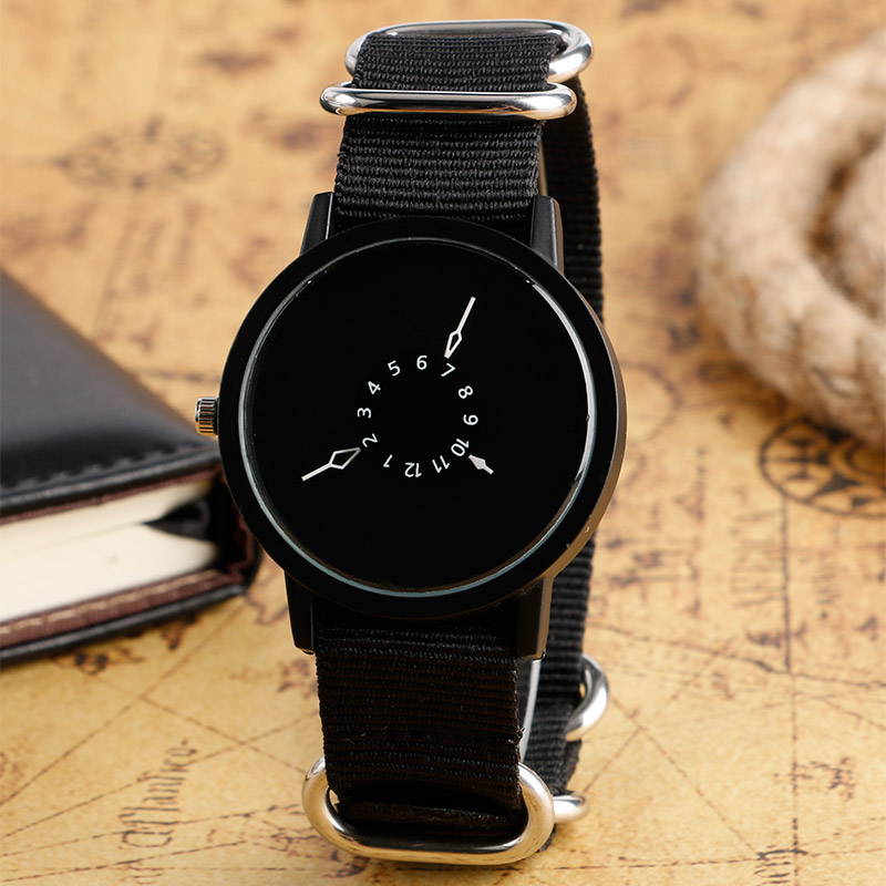 PAIDU Casual Round Dial Nylon Band Strap Wrist Watch Quartz Sport Creative Turntable Clock 3 Style Available Relogio Masculino(China (Mainland))