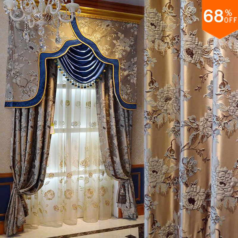 Wholesale 2015 golden real 3d luxury flowers curtain for Hotel design valence