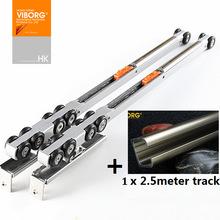 VIBORG 10-wheels Super Smooth&quite Soft Close Hanging Sliding Door Hardware Set Kit Wheels Roller with 2.5 meter Track Rail(China (Mainland))