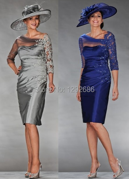 2014 High End Off-the-shoulder Neckline Half Sleeves Knee-length Delicate Lace Appliques Mother Bride Dress - wedding-dresses store
