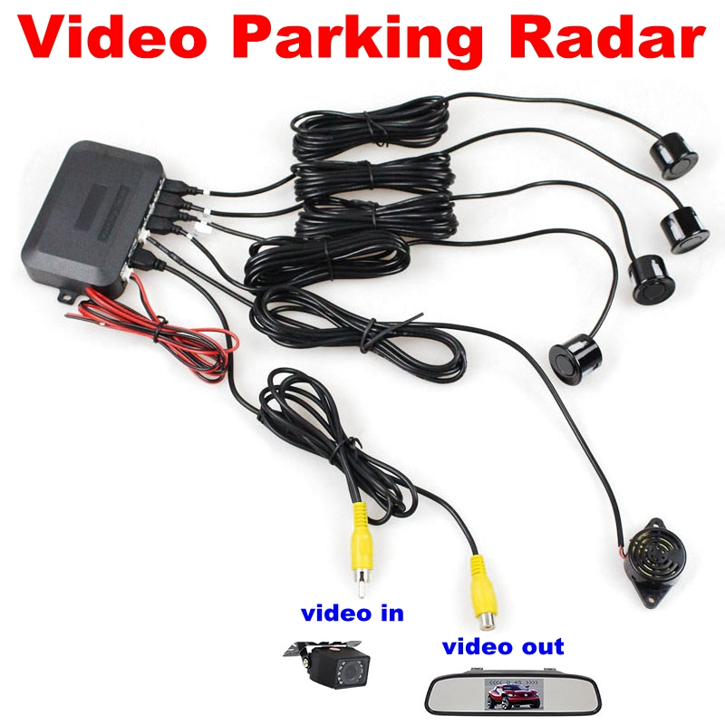 Car Reverse Video Parking Radar 4 Sensors Rear View Backup Security System Kit Sound Buzzer Alert Alarm For Camera Car Monitor(China (Mainland))