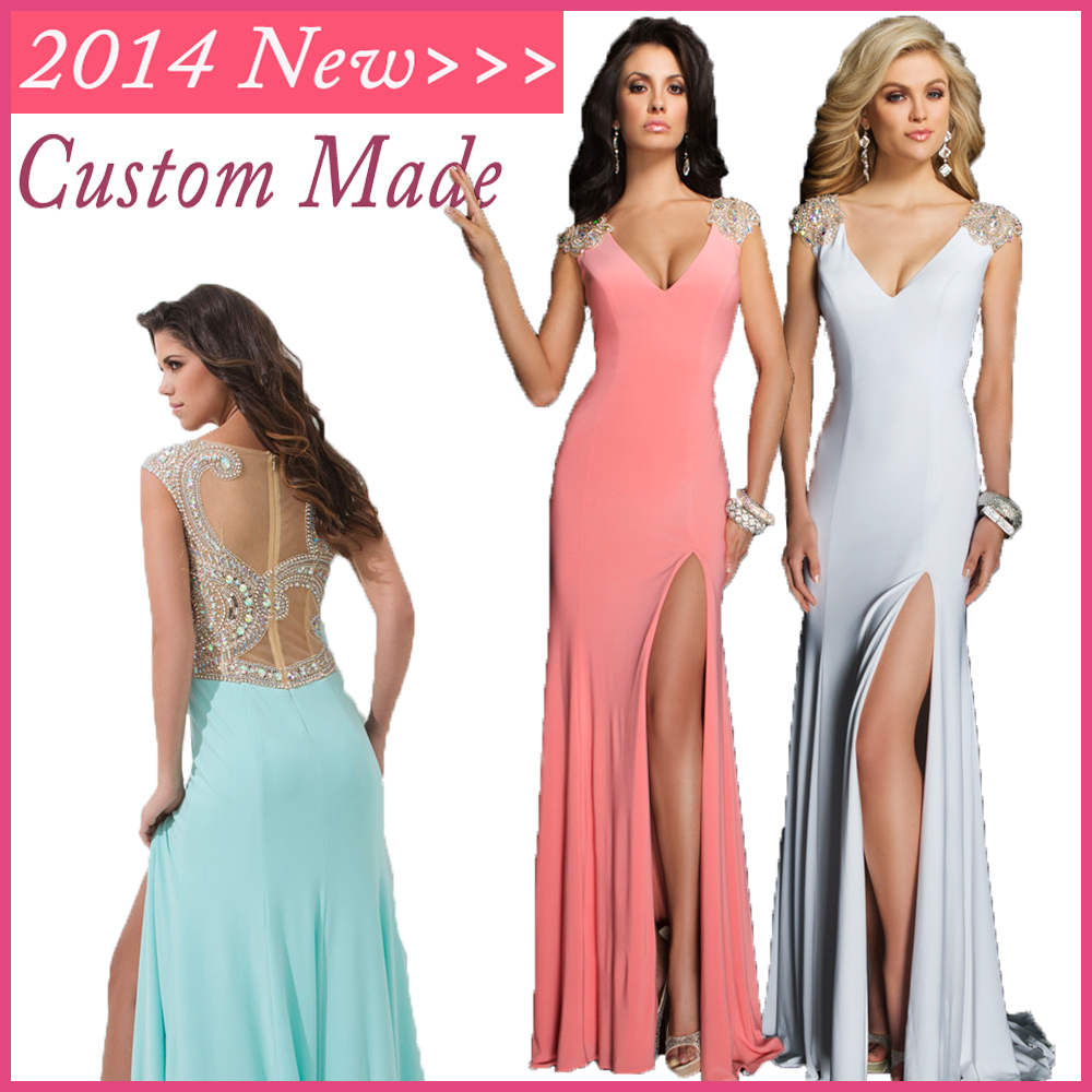 2014 New Arrival Pink White Green Chiffon Cap Sleeves Tony Prom Evening Dresses With Crystal See Through WV-330(China (Mainland))