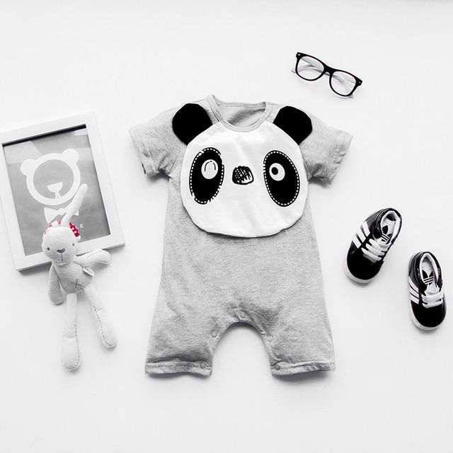 Cute panda 100% Хлопок короткий Рукав Одежды Аналогичные Комбинезон Отпечатано Девочка Трико девочка мальчик одежды