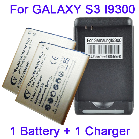 2x 3250mAh High Capacity Gold Battery +Battery Charger Fr SAMSUNG GALAXY S3 I9300 L710 T999 I9308 Bateria Batterij AKKU Cargador(China (Mainland))