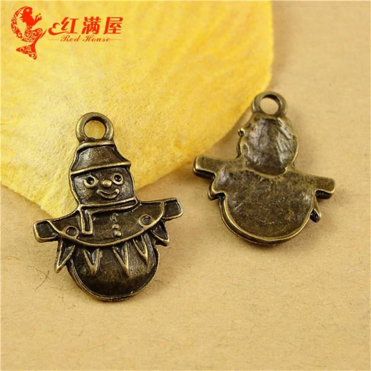 23*18MM Antique Bronze Vintage Christmas Snowman charm pendant beads, mobile phone accessories retro brass jewelry making charms(China (Mainland))