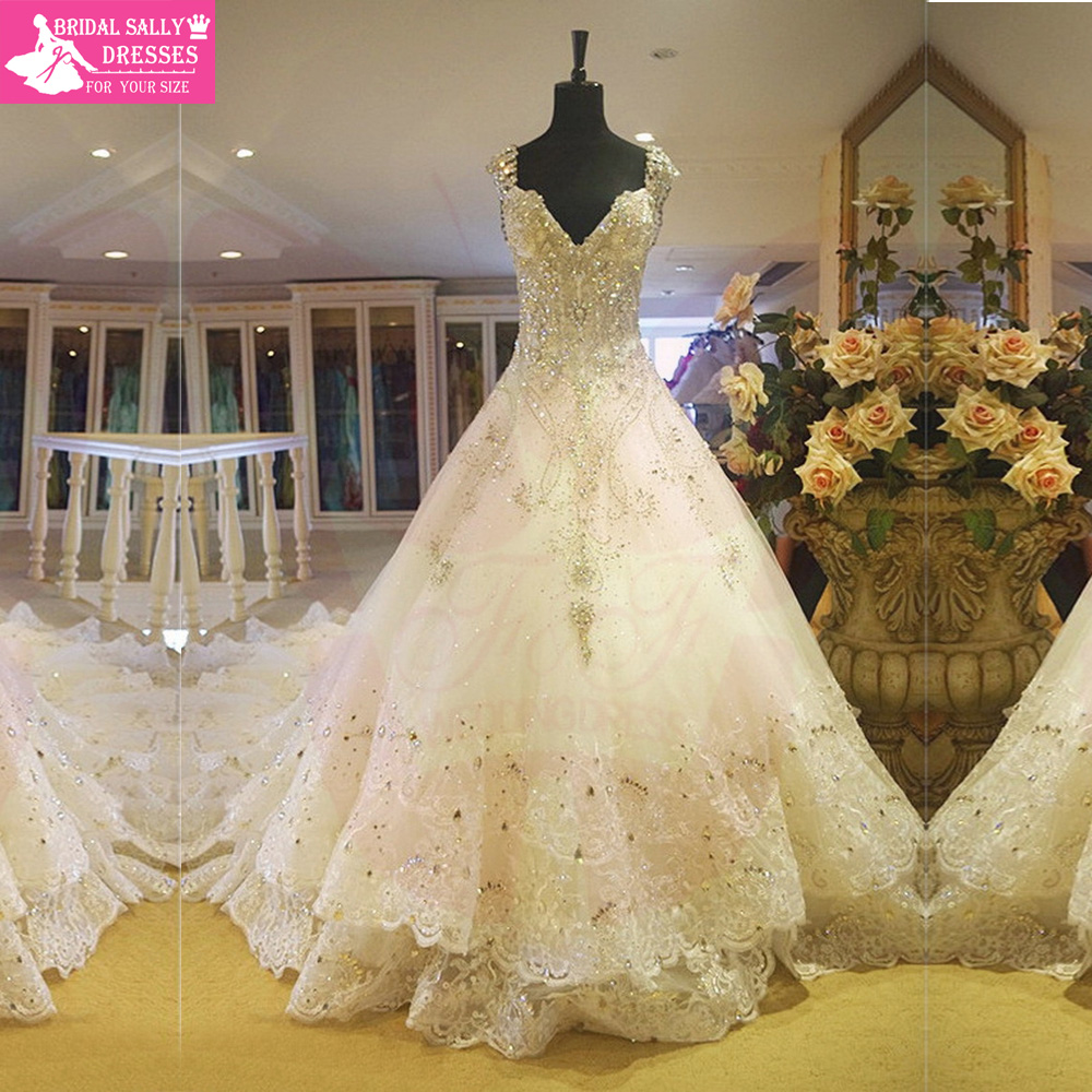 Lace wedding dress a line vintage wedding dresses crystal for Wedding dresses with sparkles