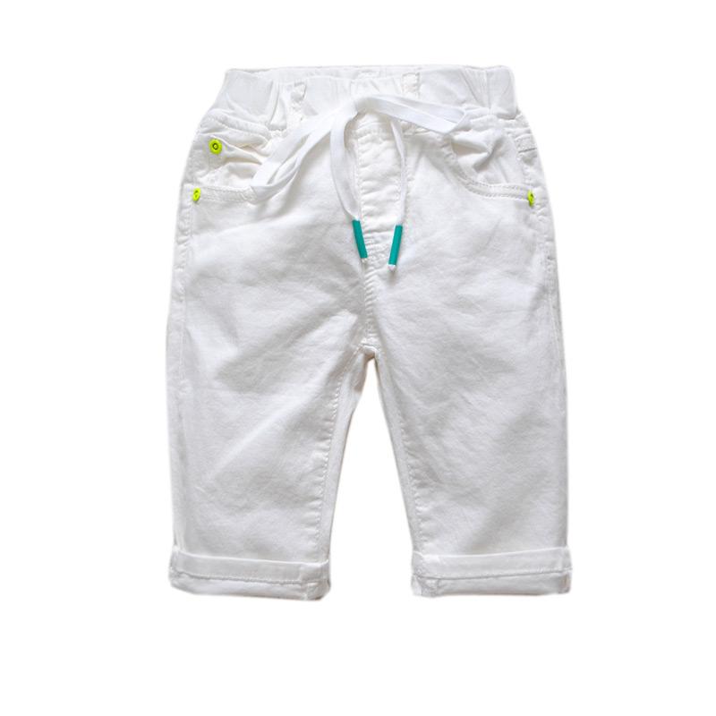 6064 soft summer shorts pants 50% length milk white boys shorts girls shorts cool casual knee length elastic waist fashion