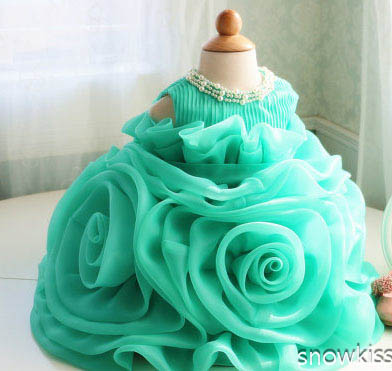 Green Organza Ruffle christening frock design 1 year birthday dress Toddler Thanksgiving Baby party Christmas Dress(China (Mainland))