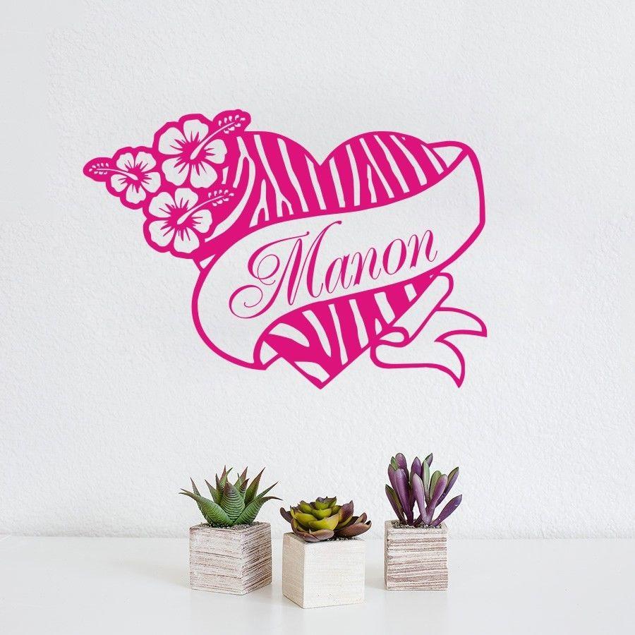 Personalized zebra print heart flower hibis custom name for Custom vinyl mural prints