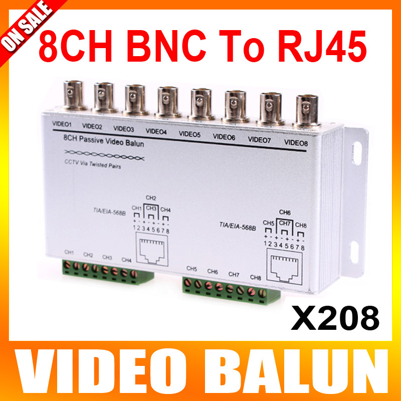 8 Channel Video Balun BNC To RJ45 Unshielded Twisted Pairs CCTV Passive Video Balun(China (Mainland))