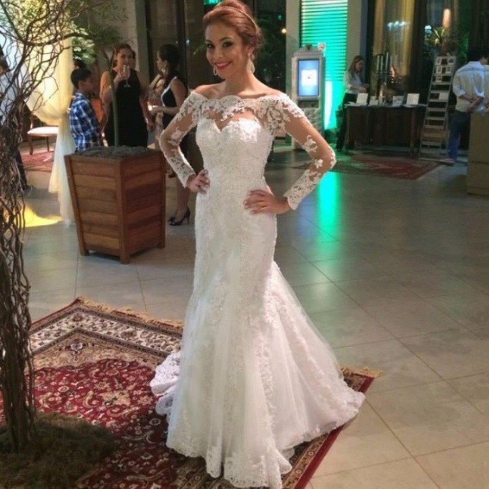 Romantic ivory mermaid wedding gowns boat neck beads long for Boat neck lace wedding dress