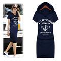 2016 Autumn plus size Women s Short Sleeve T Shirt Long Hooded T Shirt Dress Slim