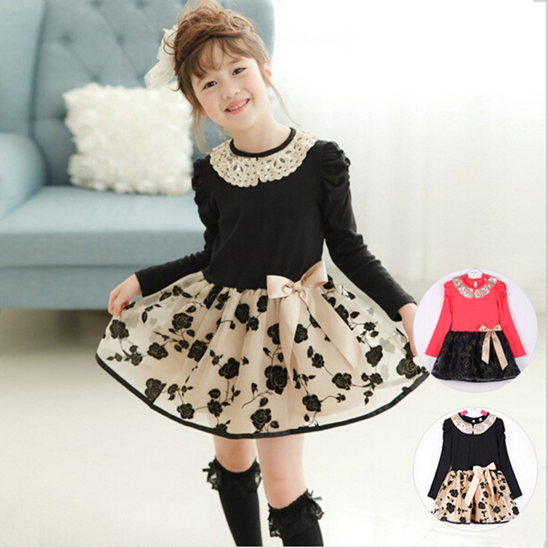 Lace Girl Casual Dress Patchwork Kids Clothes Girl Party Dress 2016 Knee-length A-line Full Floral Girl Dress Children Clothing