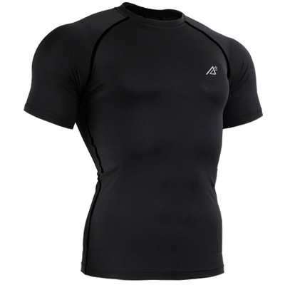 4 Way Stretch Skintight Compression Shirt Men Running Tops Training Workout Gym Fitness Short Sleeves T-shirts Solid Black Tees