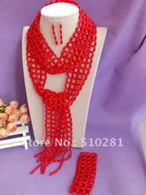 J874654781!!! Luxury bridesmaid bridal Red coral jewelry set L3669g Scarves design coral bead necklace bracelet earring set(China (Mainland))